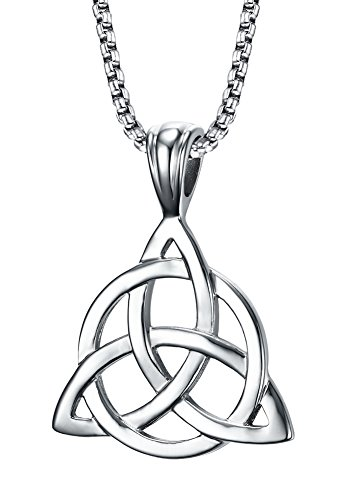 Stainless Steel Irish Celtic Triquetra Triangle Trinity Knot Pendant Necklaces for Men, 24