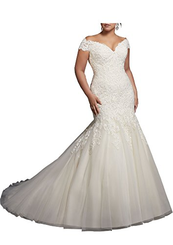 Beauty Bridal V-Neck Off Shoulder Mermaid Wedding Dresses For Bride Lace Applique Bridal Gowns (20W,Pure Ivory)