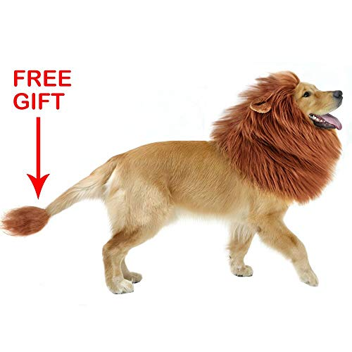 GABOSS Lion Mane Costume Dog, Dog Lion Wig Large Dog,Pet Halloween Party Fancy Hair Dog Clothes (Dark Brown Ear & Tail)