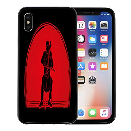 Semtomn Phone Case for Apple iPhone Xs case,Artist Cello Player Designed on Sunset Graphic Cellist Classic Classical for iPhone X Case,Rubber Border Protective Case,Black