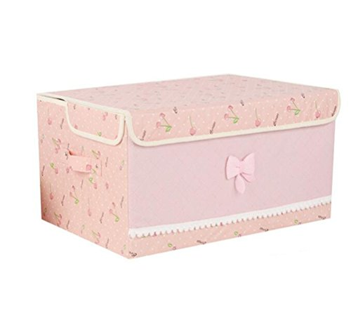 GAMT Foldable Storage Box Convenient Storage Box With Lid Cherry Pink (Wicker Wrapped Box)