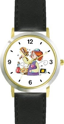 Girl with Gragger during Purim Judaica Jewish Theme - WATCHBUDDY DELUXE TWO-TONE THEME WATCH - Arabic Numbers - Black Leather Strap-Children's Size-Small ( Boy's Size & Girl's Size )