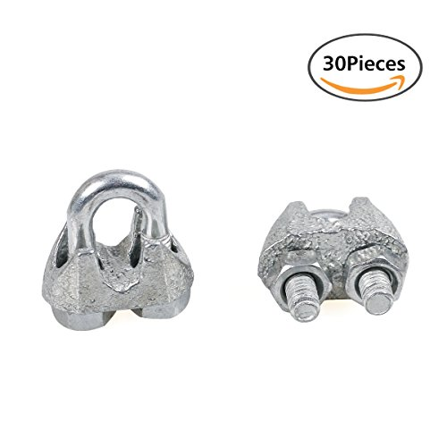 GLE2016 30Pcs 3mm 1/8 Inch Galvanized Metal Zinc Coated Wire Rope Cable Clamp (Forged Wire Rope Galvanized Clips)