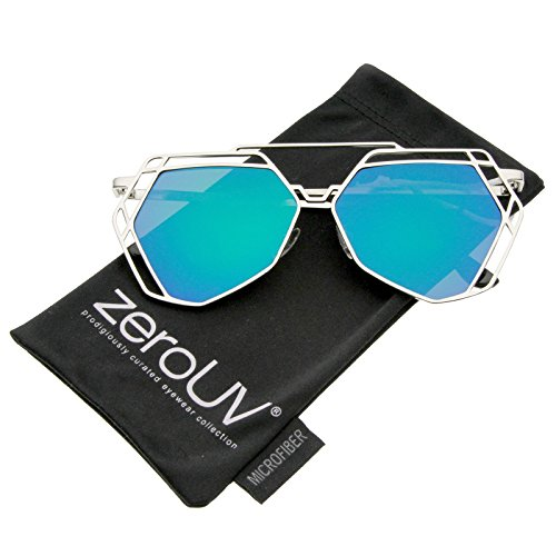 zeroUV - Modern Geometric Metal Frame Colored Mirror Flat Lens Hexagonal Sunglasses 56mm (Shiny Silver / Green - Sunglasses Slay