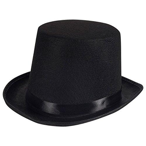 Magician Hat - Black Felt Top Hat Men Women, One Size Fits Most Adults
