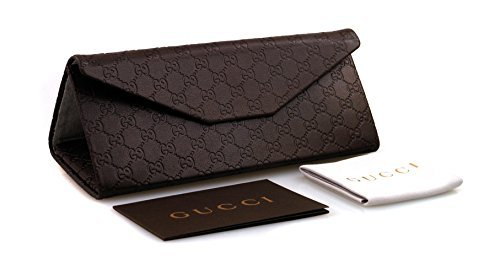 huge selection of b0b55 02d54 GUCCI Brown Leather Folding Sunglasses Case & Cleaning Cloth