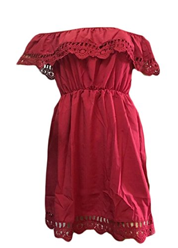 Lace Dress Jaycargogo Sexy Shoulder Beach Ruffle Wine Crochet Mini Red Off Womens rFSFqngX
