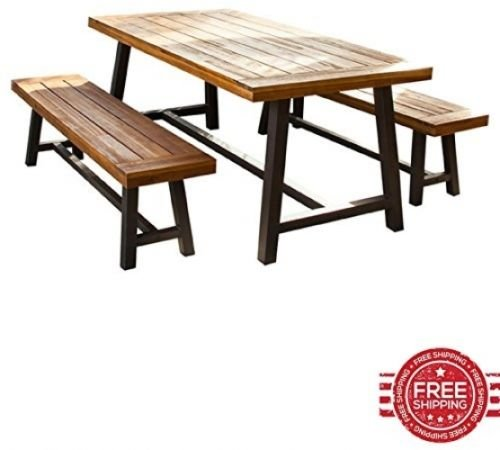 Picnic Table Set Of Outdoor Lawn Garden Yard Metal Frame Wood - Picnic table supplies