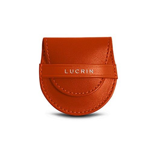 Lisse Lucrin cuir sac Accroche en Violet Cuir Orange pochon son et 5rrzqwYZ
