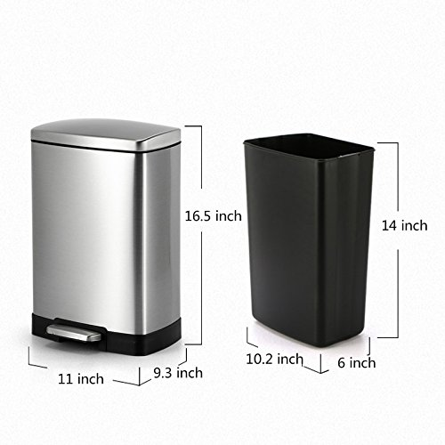 Cslives Stainless Steel Square Step Trash Can Removable Inner Bucket Silent Close Lid Fingerprint-Proof Finish Modern Hotel Office Home 12L/3.17 Gal (Silver)