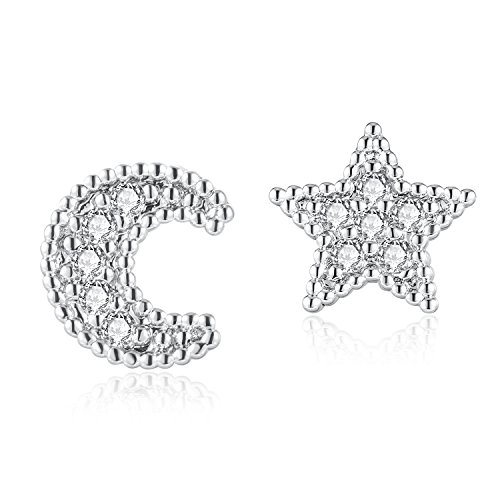 1 Pair Cubic Zirconia Moon Star Upper Ear Cartilage Helix Stud Earrings Lobe Piercing 16G 1/4