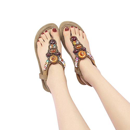 BURFLY Women Summer Fashion Bohemia Sandals Leather Flat Peep-Toe Shoes String Bead Decorated Casual Ethnic Sandals Khaki gADheNb
