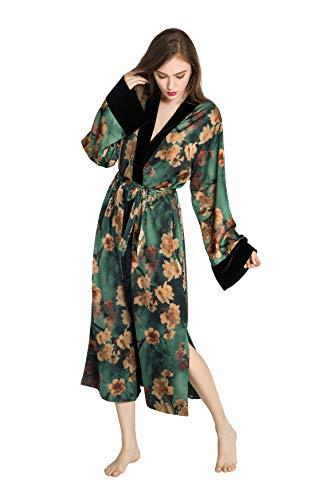 - KIM + ONO Women's Kimono Wrap - Watercolor Floral, Azumi- Green