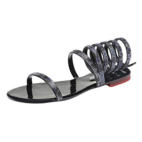 (Copercn Women's Ladies Rainbow Rhinestone Collage Reflective Patent Leather Insole One Band Open Toe Ankle Spiral Tie Up Bandage Thin Heel Flat Sandals Summer Fashion Roman Sandals Beach Shoes )