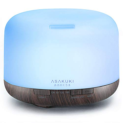 - ASAKUKI 500ml Premium, Essential Oil Diffuser, 5 in 1 Ultrasonic Aromatherapy Fragrant Oil Vaporizer Humidifier, Timer and Auto-Off Safety Switch, 7 LED Light Colors