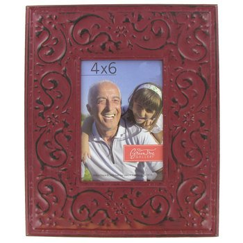 Green Tree Gallery Rustic Embossed Tin Photo Frame, Metal, Brick Red, for 4 x 6 inch (Photo Tin)