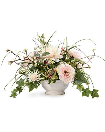 Rose & Berry Silk Flower Centerpiece Bowl Silk Flower Arrangement