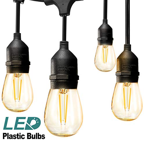 addlon LED Outdoor String Lights 48FT with 2W Dimmable Edison Vintage Plastic Bulbs and Commercial Great Weatherproof Strand - UL Listed Heavy-Duty Decorative LED Café Patio Light, Porch Market Light -