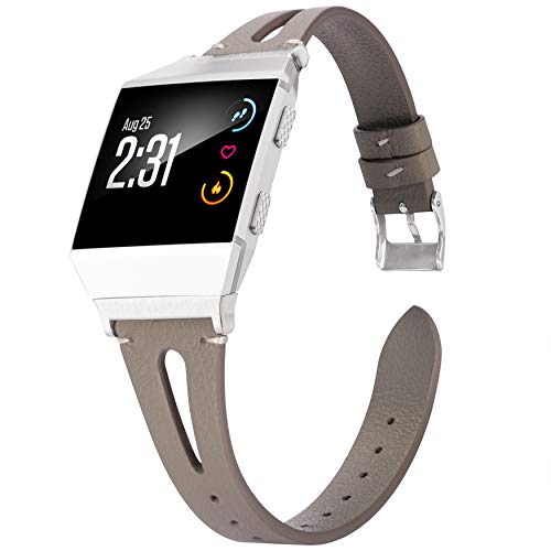 Wearlizer Leather Band Compatible for Fitbit Ionic Bands Women Men, Genuine Leather Replacement Band Bracelet Compatible with Fitbit Ionic Small Large (Grey)