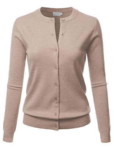 LALABEE Women's Crew Neck Gem Button Long Sleeve Soft Knit Cardigan Sweater Khaki ()