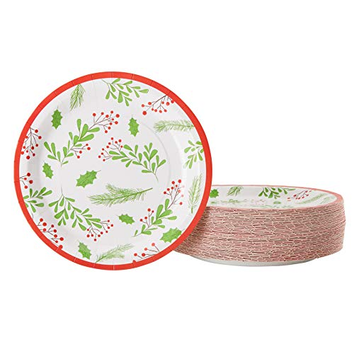Disposable Plates - 80-Count Paper Plates, Christmas Holiday Party Supplies for Appetizer, Lunch, Dinner, Dessert, Holly Berry and Leaves Design, White, 9 Inches Diameter