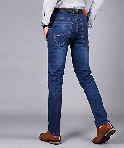 Uomo Denim Stretch Comodo Vintage Pantaloni Il Per Slim Blau Fit Jeans Tempo Libero Moda Dritti Battercake qaBwt