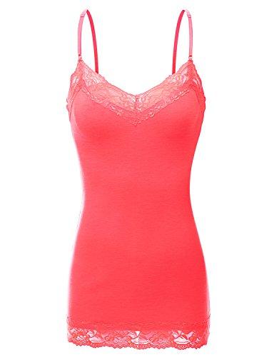 Doublju Women Gym Wear Soft Fabric Top Printed Three-Quarter Sleeve NEONCORAL Tank top,2XL