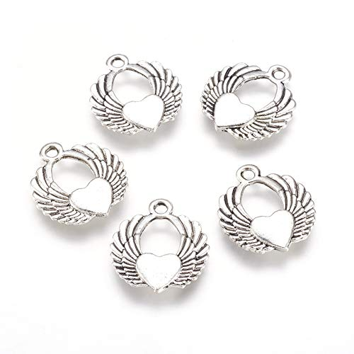 (Kissitty 100pcs Angel Wings Heart Lucky Charms Antique Silver Reversible Findings Jewelry Pendants Necklaces Making 21.5x19x3mm)