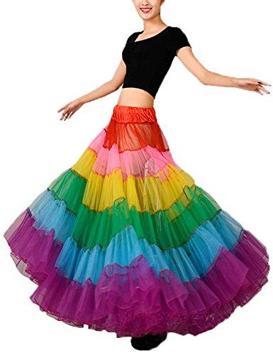 Long Multicoloured Skirt Swing Dancing Tutu Skirts Rainbow Slips See Through Petticoat M
