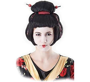 EUROCARNAVALES Peluca de Geisha Japonesa con Palillos