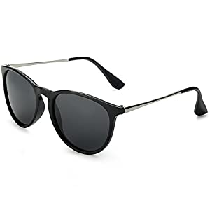 WELUK Black Wayfarer Sunglasses for Women Men Round Large Frame Fashion Keyhole