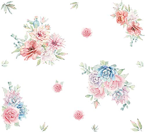 Peony Flowers Wall Decal, Floral Vinyl Wall Sticker,Blooming Roses Wall Decor, Colorful Girls Love Decal, Nursery Wall Art,Wedding Praty Decoration