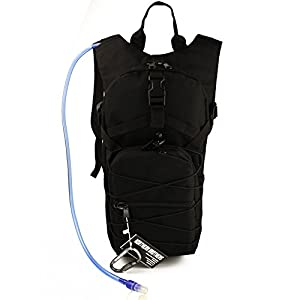 NORTHERN BROTHERS Hydration Backpack Tactical Rucksack Run-pack with 3 Liter/100 oz Reservoirs Water Bladder Bag for Hiking, Running, Camping, Climbing, Cycling, Walking, Hunting (Black)