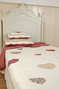 EMBROIDERED PATCHWORK HEARTS RED CREAM 100% COTTON 180X260CM BEDSPREAD