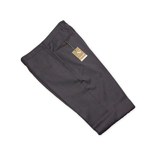 Santorelli Men's Flat Front Twill Dress Trousers, 34R, medium grey Wool Zip Fly Trousers