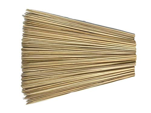 Wood Skewers 12 inch - 150 Pack Bamboo for BBQ, Shish Kabob, Grilling, Chocolate Fountain, Fondue - Thin, Sturdy All Natural Wooden Sticks - Sensational Skewers 14 Grilling Tips Card Included