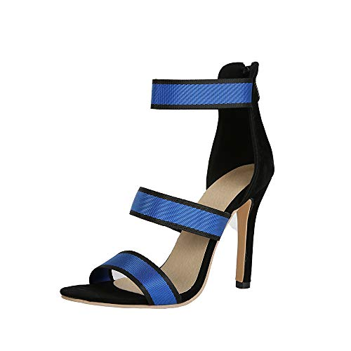 - Remikstyt Womens Heels Sandals Open Toe Ankle Strap Sexy Striped Summer Party Sandals Shoes Blue