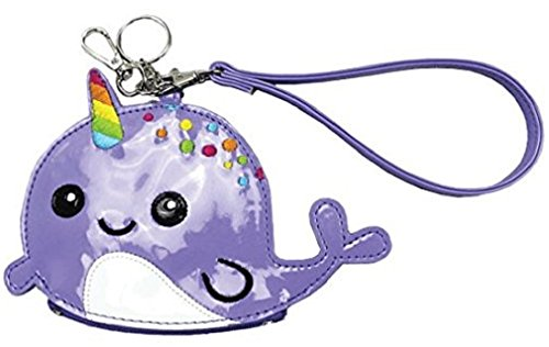 Price comparison product image iscream Girls' Rainbow Horn Narwhal Wristlet Clutch Coin and Key Purse in Faux Patent Leather
