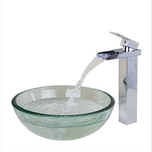 ゆば 現代透明強化ガラスラウンド洗面容器シンククローム浴室の蛇口ガラスシンクセットドレン