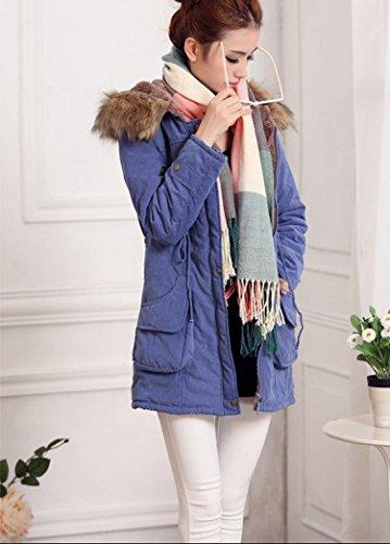 Manteau Epais Parka synthtique Zip Veste avec rembourrage et 3674 long Capuche pour Bleu Hiver femme fxqqYwC
