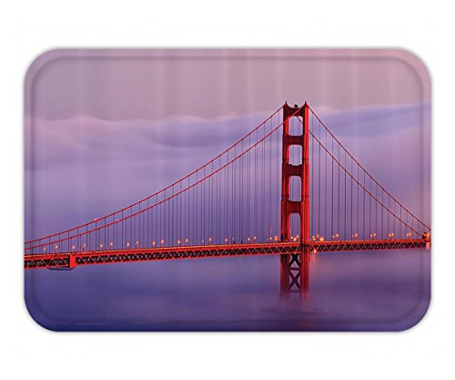 (Beshowere Doormat Apartment Decor Collection Golden Gate Bridge with Foggy Scene Cloudscape Historic FamouTourist Attraction Polyester Fabric Bathroom Set with HookCloudy Purple.jpg)