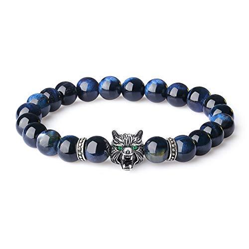 Viking Metal Blue - JSstudio Mens Viking Wolf Bracelet Blue Tiger Eye Beads Handmade Chakra Gemstone Anxiety Stress Relief Real Healing Stones Protection Jewelry Shamballa Energy Prayer Meditation Beaded Bracelet for Men