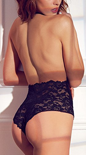EVELUST-Womens-Open-Back-Halter-Plunging-TeddyComfortable-Scalloped-Trim-Lace-Lingerie