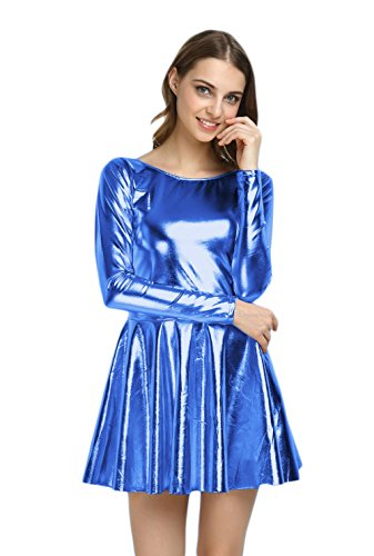 Blue And Gold Dress Costume (WOLF UNITARD Shiny Wet Look Dress Cosplay Costumes X-Large Blue)