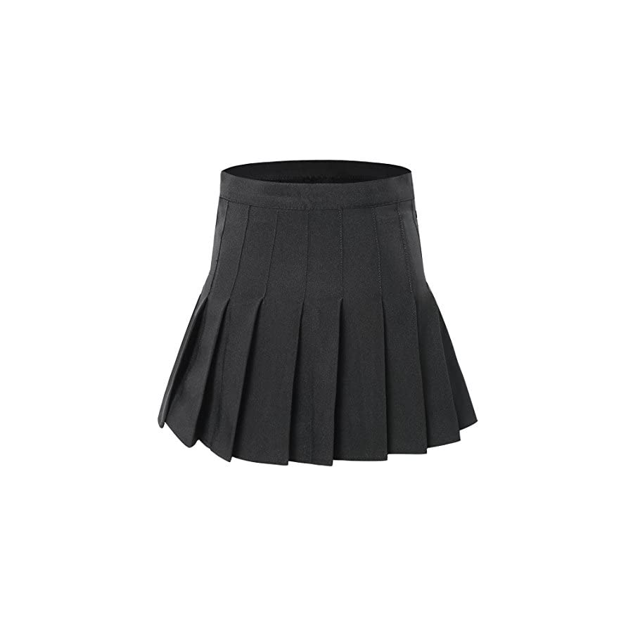 Tremour Women High Waist Pleated Mini Tennis Skirt Solid Short Skirts
