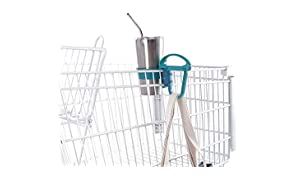 A Multi-Functional Eco-Friendly Tool That Makes Shopping With Reusable Bags Easy! An All-In-One Device: Grocery Cart Tool, Bag Handle, Drink Holder, Headrest Hook. Toolaloo (Porcelain + Navy)
