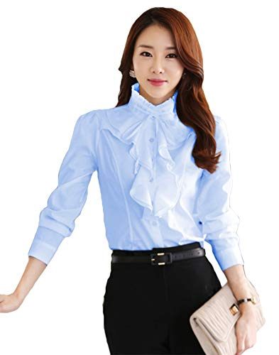- ezShe Women's Stand Up Collar Lotus Ruffle Satin Shirt Blouse Blue 2XL