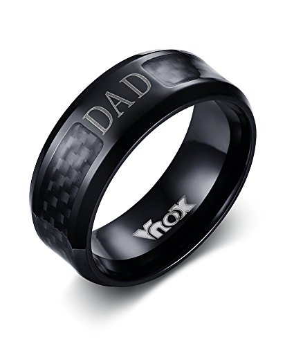 Vnox Stainless Steel Carbon Fibre Dad Ring Bands Black for sale  Delivered anywhere in Canada