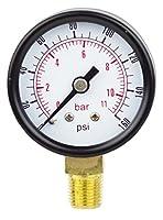"PneumaticPlus PSL15-160 Pressure Gauge, Lower Mount, 1-1/2"" Dial, 0-160 PSI, 1/8"" NPT"