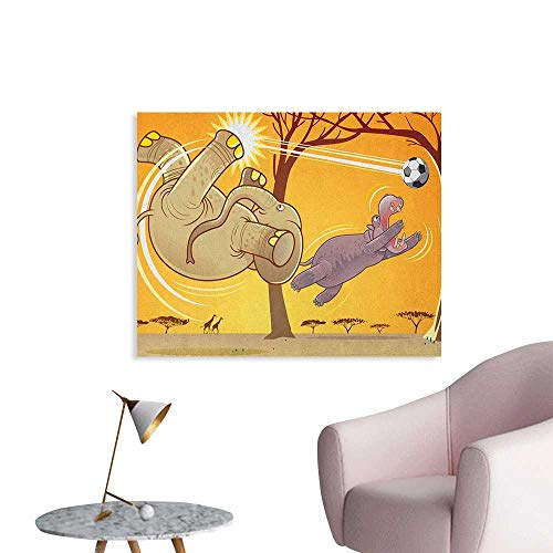 (Elephant Wallpaper Elephant and Hippo Playing Football Cartoon Print Fantastic Animal Design Custom Poster Orange Umber Purple W32 xL24)